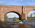 Paddling under the left arch, Eden Bridge - geograph.org.uk - 1766826.jpg