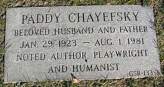 Paddy Chayefsky - Paddy Chayefsky's footstone
