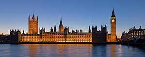 The Palace of Westminster at night seen from t...