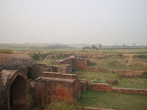 "Empire of Harsha - Palace ruins at ""Harsh ka tila"" mound area spread over 1 km."