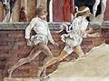 Palazzo schifanoia, salone dei mesi, 04 aprile (f. del cossa), Borso assiste al Palio di San Giorgio e dà moneta al buffone Scoccola 06 2.jpg