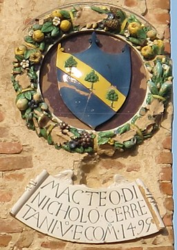 Palazzo Pretorio di Certaldo, facciata, stemma Cerretani
