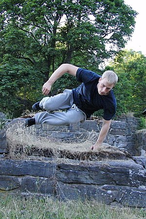Parkour - A traceur performing a speed vault