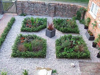 English: Part of a parterre in an English gard...
