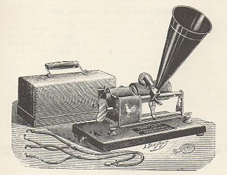 "Pathé Records - An early Pathé cylinder phonograph from 1898. The design closely mimics that of the Columbia ""Eagle""."