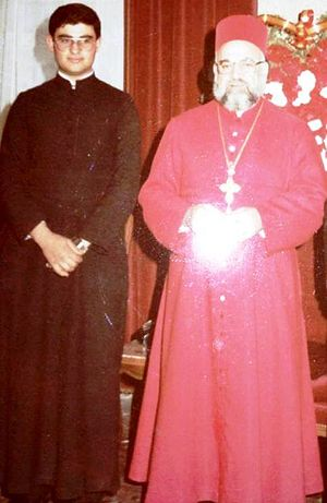 Ignatius Aphrem II - The young Deacon Aphrem Karim (later Patriarch Ignatius Aphrem II) with his predecessor Patriarch Ignatius Zakka I Iwas; taken in 1985.