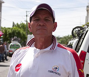 Patrocinio Jiménez en la etapa 11 de la Vuelta a Colombia 2013.jpg