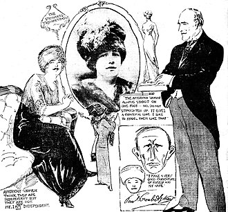 Paolo Troubetzkoy - Portion of St. Louis Post-Dispatch page of March 17, 1912, shows reporter Marguerite Martyn, in the center, making sketches for her article on Troubetzkoy and his wife, Elin Sundström (drawing right and photo center). The layout also includes a caricature that Troubetzkoy did of Sundström and himself, as well as Troubetzkoy quotations that Martyn noted.