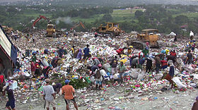 Plastic waste on the mounds of garbage in the Philippines. Plastic bags ... bb9c398ac655a