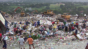Phase-out of lightweight plastic bags - Plastic waste on the mounds of garbage in the Philippines.