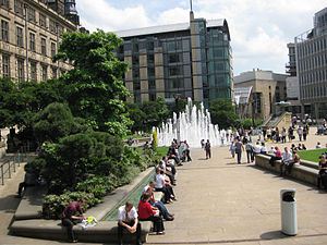 Peace Gardens - The Peace Gardens looking East towards St Paul's development