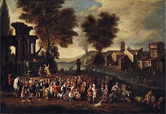 Peeter van Bredael - Commedia del'arte scene