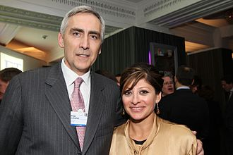 Maria Bartiromo - Peter Löscher, President and CEO of Siemens, with Maria Bartiromo, the television journalist, at the FT CNBC Davos Nightcap, 26 January 2012