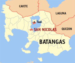 Map of Batangas showing the location of San Nikolas.
