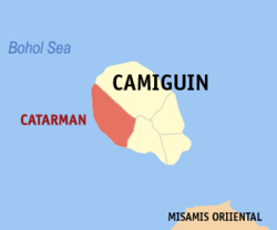 Map of Camiguin with Catarman highlighted