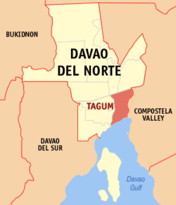 Map of Davao del Norte showing the location of Tagum City.