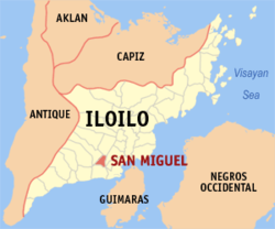 Map of Iloilo with San Miguel highlighted