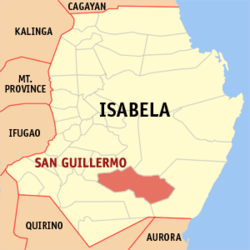 Map of Isabela with San Guillermo highlighted