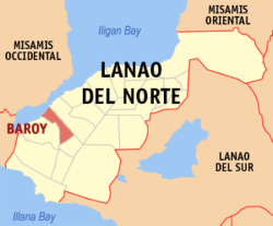 Map of Lanao del Norte with Baroy highlighted