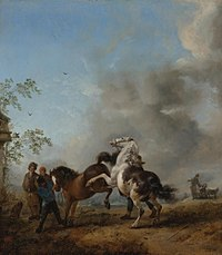 Philips Wouwerman - A Mare and a Stallion in Front of a House N08404-11-lr-1.jpg