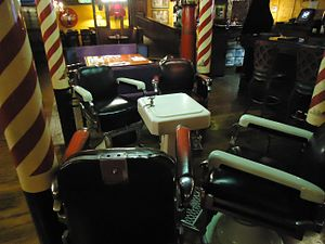Barber chair - In 2015, barber chairs being used as decoration in a restaurant in Phoenix.