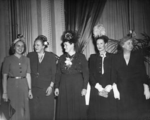 India Edwards - A party in Edwards' honor with, from left to right, Margaret Truman, Esther Tufty, India Edwards, Eda Brannan, and First Lady Bess Truman.