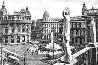 Piazza De Ferrari - An old postcard of Piazza De Ferrari