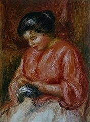 Femme reprisant