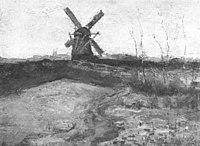 Piet Mondriaan - Windmill with church towers in the distance - A280 - Piet Mondrian, catalogue raisonné.jpg