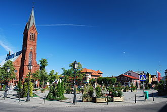 Kartuzy - Main square and St Casimir's Church