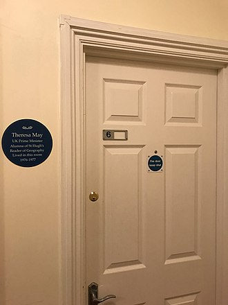 St Hugh's College, Oxford - Plaque in front of  Theresa May's former room.