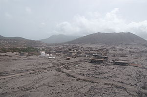 Plymouth, Montserrat - Plymouth in 2006, following the 1997 eruptions which buried most of the town in ash