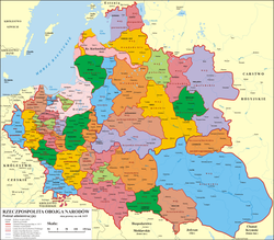 The Principality of Trubetsk was located on the later territory of Smoleńsk Voivodeship (below, near eastern border).