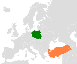 Map indicating locations of Poland and Turkey