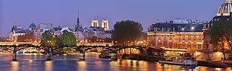 Landmarks in Paris - Panorama of the center city of Paris along the Seine river which shows some of its landmarks