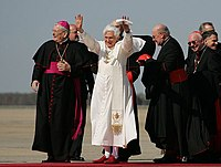 Pope Benedict XVI waves to a crowd upon his arrival at Andrews Air Force Base, Maryland, United States.