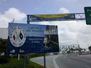 PortMiami Deep Dredge Project - Deep Dredge banner at the PortMiami entrance