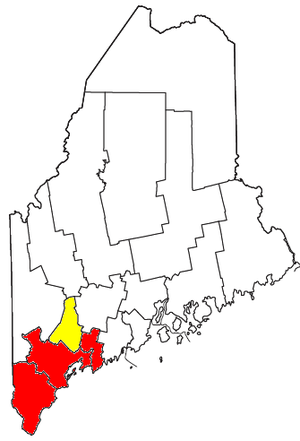 Portland metropolitan area, Maine - Map of the Portland metropolitan area. The Portland–South Portland–Biddeford MSA is indicated in red. Androscoggin County, shown in yellow, forms the Lewiston–Auburn MSA and is included in the larger Portland–Lewiston–South Portland CSA.