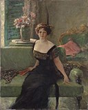 Portrait of a Lady in Black (Annie Traquair Lang) by William Merritt Chase (1911).jpg