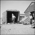 Poston, Arizona. Moving freight directly from Poston to future homes back in California. These box . . . - NARA - 539860.tif