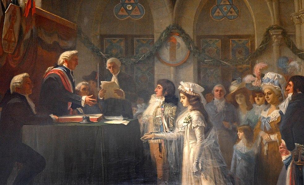 """""""Premier mariage civil à Sens en 1792"""", salle synodale, célébré par M. Scherrer, décor de la salle des mariages de la Mairie de Sens."""
