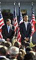 President Barack Obama and Secretary of Defense Leon E. Panetta observe a moment of silence at the Pentagon Memorial Sept 120911-D-NI589-408.jpg