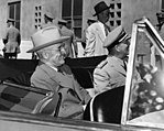 President Harry S. Truman and Admiral Arthur Radford in Backseat of Car.jpg