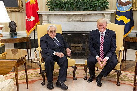 President Donald Trump meeting with Kissinger on May 10, 2017 President Trump Meets with Henry Kissinger (33787724293).jpg