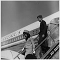 President and Mrs Kennedy deplane from Air Force One (3083217329).jpg