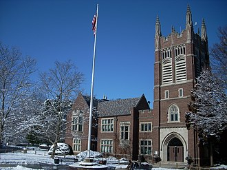 Princeton High School (New Jersey) - Tower and flagpole at entrance of the school
