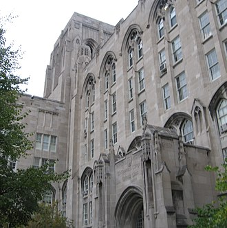 Pritzker School of Medicine - One of the many buildings that house offices of the Pritzker school. Although constructed after the main quadrangles, the Pritzker buildings adhere to Gothic architectural norms