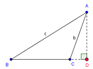 Base (geometry) - The altitude from A intersects the extended base at D (a point outside the triangle).