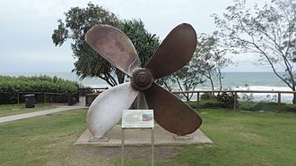 Rainbow Beach, Queensland - Propeller from the wrecked ship Cherry Venture, saved and displayed at Rainbow Beach, 2016
