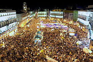 Puerta del Sol in Madrid during the 2011 Spani...